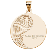 Personalized Round Print Pendant or Charm w  Text