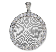 Sterling Silver Custom Fingerprint Round Pendant with Cubic Zirconias