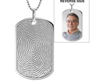 Stainless Steel Custom Fingerprint Dog Tag Pendant with Chain