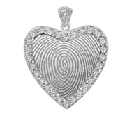 Sterling Silver Custom Fingerprint Heart Pendant with Cubic Zirconias