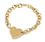 14k Yellow Gold Custom Fingerprint Heart Bracelet
