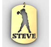 Personalized Football Quarterback Sports Dog Tag Cut Out Necklace