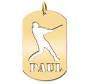 Personalized Baseball Slugger Name Dog Tag Cut Out Pendant