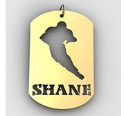 Personalized Football Name Dog Tag Cut Out Pendant