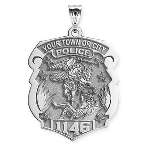 Saint Michael Personalized Police Badge with Department   Badge Number