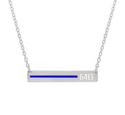 Personalized Horizontal Thin Blue Line Police Necklace w  18  Chain