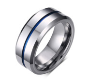 Sterling Silver Thin Blue Line 8mm Thin Blue Line Band