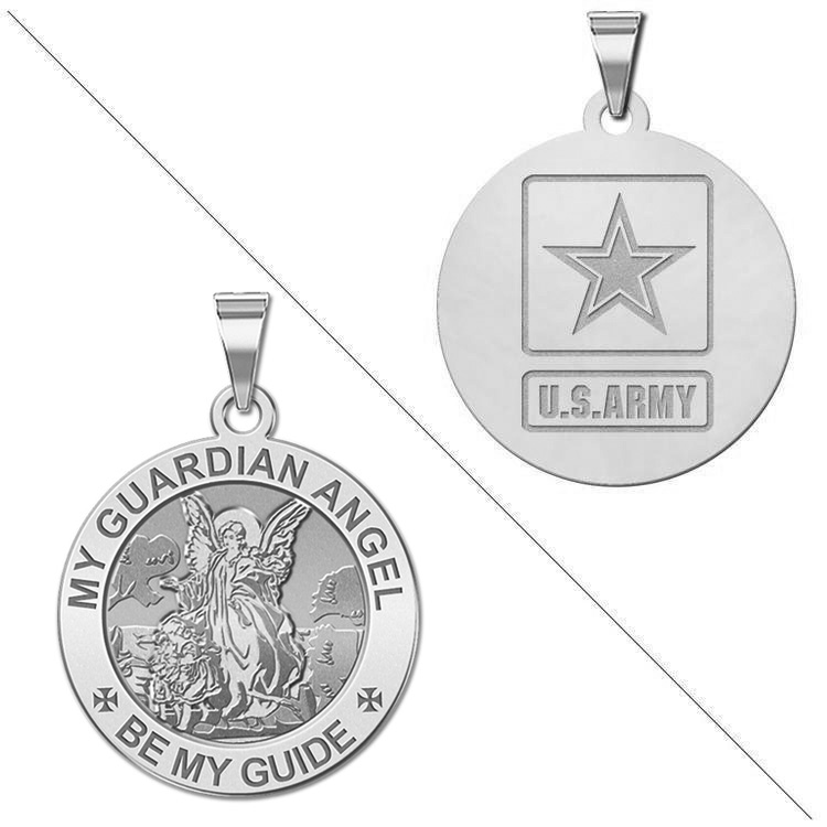 14k Yellow Gold Religious Our Guardian Angel Medal Pendant with 1.2mm Cable Chain Necklace
