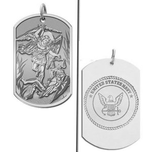 Saint Michael Doubledside NAVY Dogtag Religious Medal  EXCLUSIVE