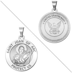 Saint Joan of Arc Doubledside NAVY Religious Medal  EXCLUSIVE