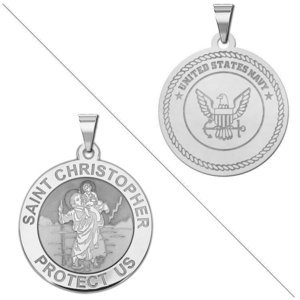 Saint Christopher Doubledside NAVY Religious Medal  EXCLUSIVE