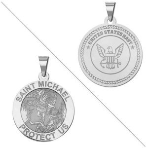Saint Michael Doubledside NAVY Religious Medal  EXCLUSIVE