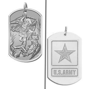 Saint Michael Doubledside ARMY Dogtag Religious Medal  EXCLUSIVE
