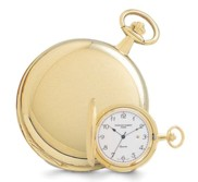 Gold Plated Polished Finish Hunter Case Quartz Pocket Watch