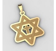 Star of David  w  Cross Cut Out Pendant