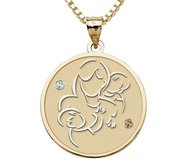 Mother with Two Sons   Round Pendant with Birthstones