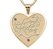 Mother with Three Sons   Heart Pendant with Birthstones