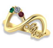 Personalized Infinity Birthstone Mother s Ring
