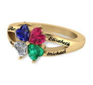 4 Heart Shaped Birthstone Mother s Personalized Ring