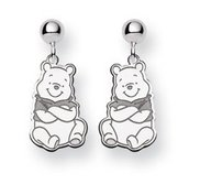 Sterling Silver Disney Winnie the Pooh Post Dangle Earrings