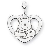 Sterling Silver Disney Winnie the Pooh Lobster Clasp Lg  Heart Charm