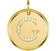 Letter  G  Posh Mommy Initial Roxy Pendant with Diamonds