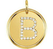 Letter  B  Posh Mommy Initial Roxy Pendant with Diamonds