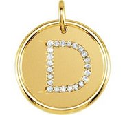 Letter  D  Posh Mommy Initial Roxy Pendant with Diamonds