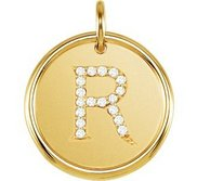 Letter  R  Posh Mommy Initial Roxy Pendant with Diamonds