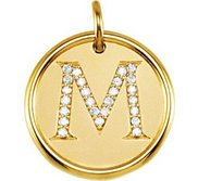 Letter  M  Posh Mommy Initial Roxy Pendant with Diamonds