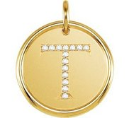 Letter  T  Posh Mommy Initial Roxy Pendant with Diamonds
