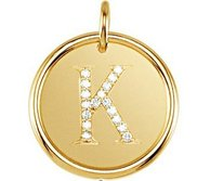 Letter  K  Posh Mommy Initial Roxy Pendant with Diamonds