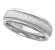 14k White Gold 6 75mm Fancy Wedding Band with Milgrain