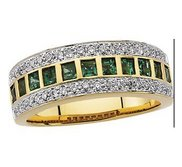14KY RHODIUM BRIDAL GENUINE EMERALD DIAMOND ANNIVE