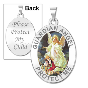 Guardian Angel  Protect My Child  Double Sided Medal  Color EXCLUSIVE