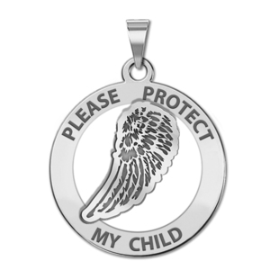 Guardian Angel  Protect My Child  Wing Cut Out Medal   EXCLUSIVE