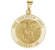 Round Guardian Angel Medal