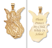 Guardian Angel  School Protect  Double Sided Pendant   EXCLUSIVE