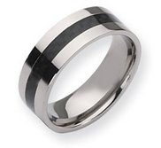 Titanium Carbon Fiber Flat 8mm Polished Wedding Band