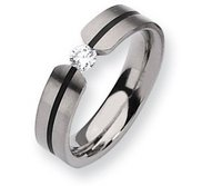 Titanium 6mm 0 33ct  Diamond Satin Wedding Band
