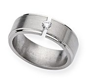 Titanium 8mm Diamond Brushed and Polished Wedding Band