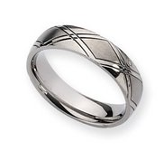 Titanium Criss cross Design 6mm Satin and Polished Wedding Band