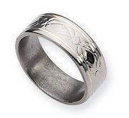 Titanium Sterling Silver Inlay Celtic Knot Flat  Polished Wedding Band