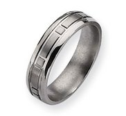 Titanium Square Design 6mm Satin and Polished Wedding Band