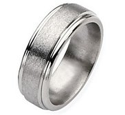 Titanium Grooved Edge 8mm Satin and Polished Wedding Band
