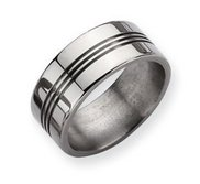 Titanium Grooved 9mm Polished Wedding Band