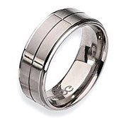 Titanium Grooved 8mm Satin and Polished Ridged Edge Wedding Band