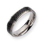Titanium Black Enamel Braid Design 6mm Brushed Wedding Band