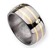 Titanium 14k Gold Inlay 10mm Polished Wedding Band