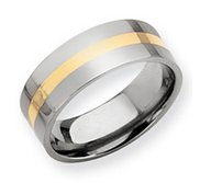 Titanium 14k Gold Inlay Flat 8mm Polished Wedding Band